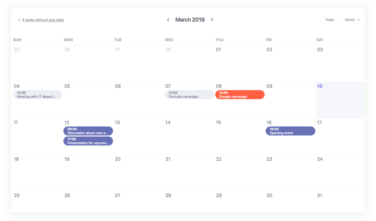 Calendar view for tasks with a due date